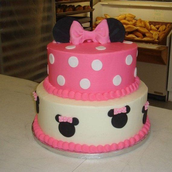 Minnie Mouse Birthday Cake 2 Tiers Etsy In 2020 Minnie Mouse Birthday Cakes Minnie Mouse Cake Minnie Cake