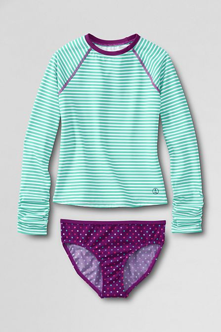 $45  Girls' Long Sleeve Sea Garden Rash Guard with Tankini Bottom from Lands' End