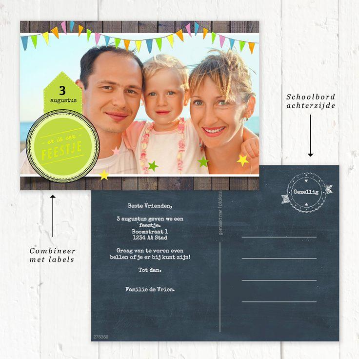 Zelf je kaartje maken bij Fotokaarten. Neem een leuke schoolbord achtergrond voor de achterzijde en plaats er witte tekst op. Zo ziet je kaartje er net even anders uit! www.fotokaarten.nl