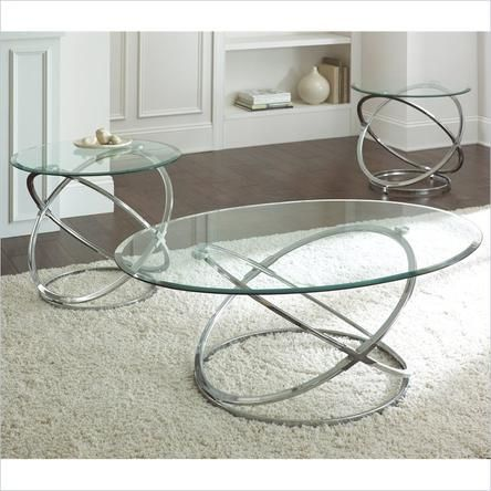 Marvelous Steve Silver Orion Oval Chrome And Glass Coffee Table Set   Coffee Table  Sets At Hayneedle