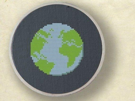 Earth. Cross Stitch Pattern. PDF File by andwabisabi on Etsy, $3.00