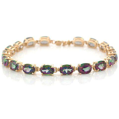 14k Yellow Gold Oval Mystic Topaz Beautiful Gold Designer Bracelet