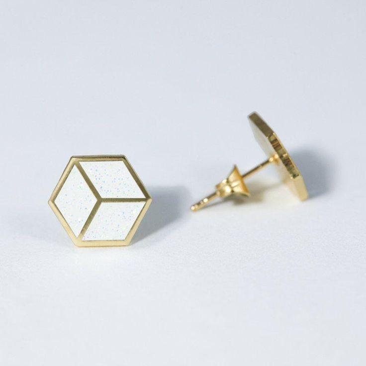 'Geo Cube' Earrings by Little Braap Racer