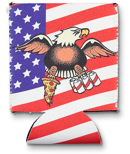 Make sure your beverages are cool by slipping any can into the new A-Lab American Pie and Beer can cooler. A foam design thermally insulates your cold beverages while a fun American flag print with a bald eagle holding a pizza slice and 6-pack brings the