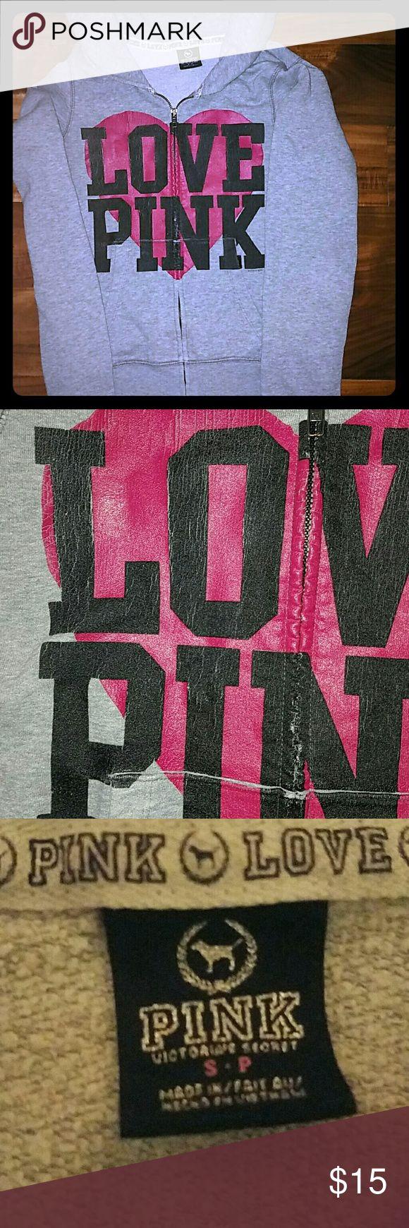 VS PINK zip up hoodie Vs PINK zip up hoodie. Worn and loved hoodie. Victoria's Secret Tops Sweatshirts & Hoodies