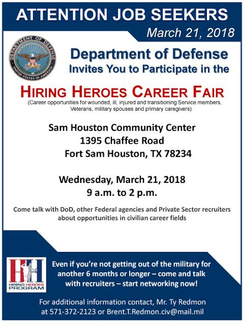 Military-Civilian: Hot Jobs, Events, and Helpful Information for Veterans Seeking Civilian Careers: DoD Hiring Heroes Career Fair at Joint Base San An...