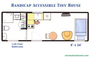 Considerations and features for building a handicap accessible tiny house. Having one built on a trailers avoids permits and cuts down on building costs.
