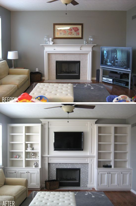Before & After: Built ins. Can make a room look much larger than it actually is!. And u can add mirrors behind shelf