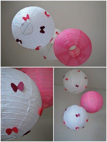 customisation de boule japonaise avec papillons pour décoration chambre bébé (2):