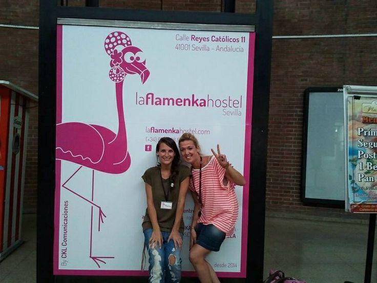 "Las flamenkas en la estación -  Our ""flamenkas"" pink flaming@ at the station www.laflamenkahostel.com by CKL"