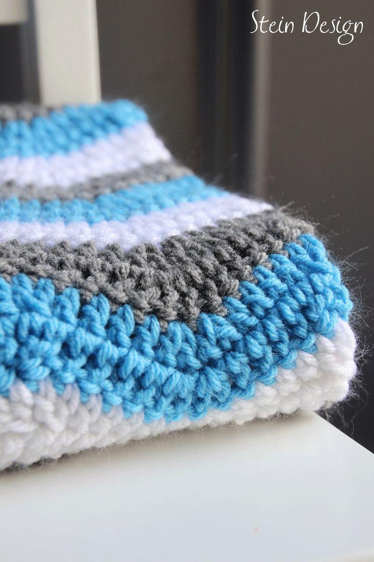 Crochet Baby Blanket, Soft Ripple Pattern, White, Gray and