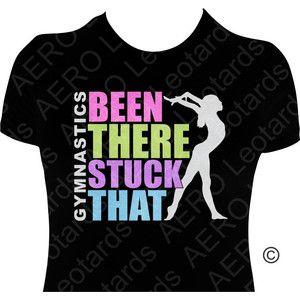 Gymnastics GYMNAST Glitter T-shirt Gymnastic Shirt girls ladies Sparkle glitter Been there stuck that