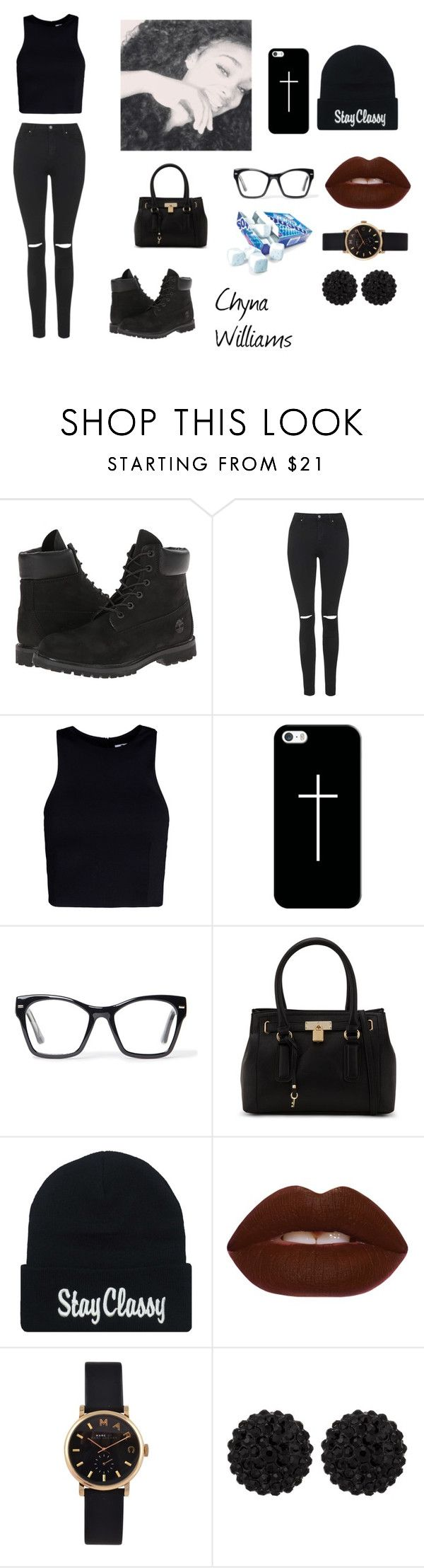 """""""Outfit # 2 Black Everything"""" by diamondslove ❤ liked on Polyvore featuring Timberland, Topshop, T By Alexander Wang, Casetify, Spitfire, ALDO, Lime Crime, Marc by Marc Jacobs and sweet deluxe"""