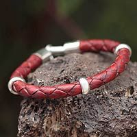 Men's braided leather bracelet, 'Bold Red' - Hand Made Men's Leather Braided Bracelet with Sterling Silve