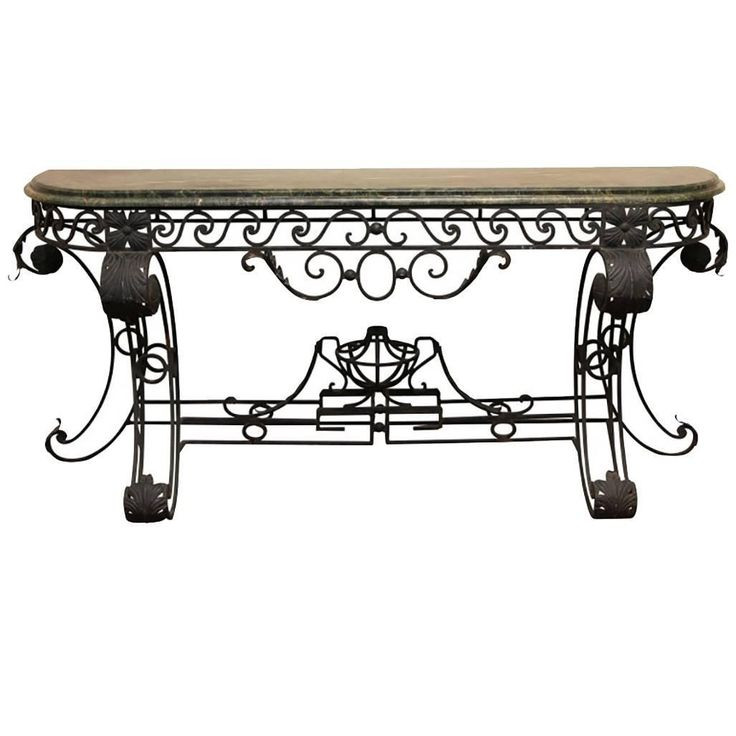 style wrought iron console table having a marbletop