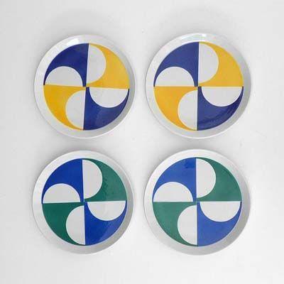 A Set of Four Gio Ponti Earthenware Plates, Ceramica Franco Pozzi, Gallarate, 1967.