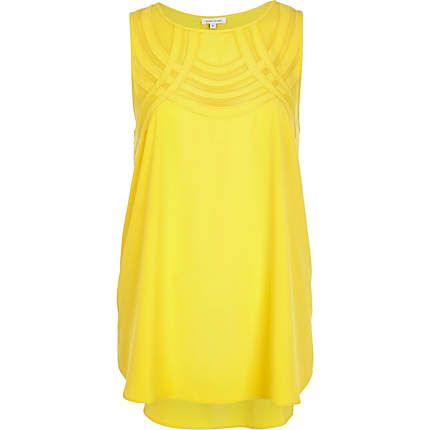 Yellow curved mesh panel shell top $44.00