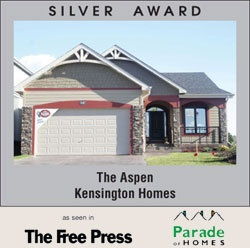 Award Winning Kensington Homes - a top rated new home builder in Winnipeg Manitoba - The Aspen - Silver Award