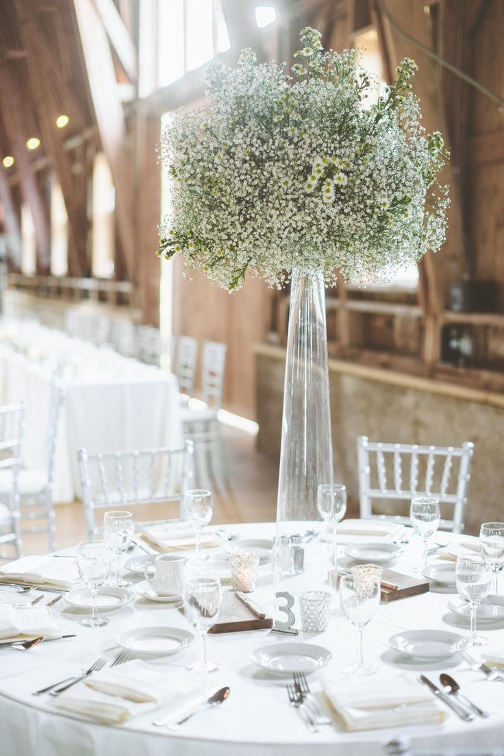 Baby's Breath Centerpiece -- See the wedding here: http://www.StyleMePretty.com/midwest-weddings/2014/04/10/new-york-glamour-in-a-wisconsin-barn-wedding/ Photography: PaperAntler.com -- #smp