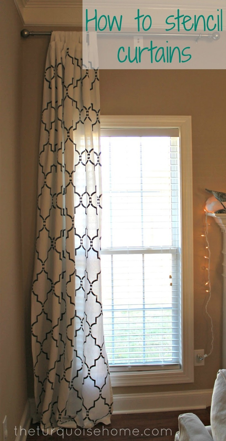 Do this with the curtains to match the dining room wall pattern, love it! How to Stencil Curtains