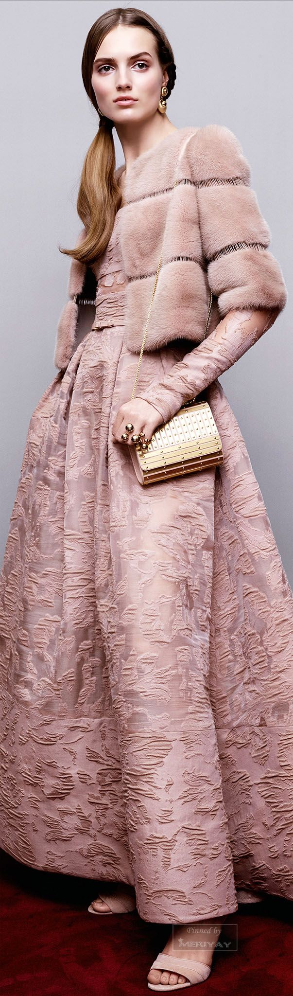 "Elie Saab Pre-Fall 2015 -- Delicate pink and pink fur (or faux?). Very nice and classy and Vic Challenger would say 'wrap it up, I'll take it!"" http://www.vicplanet.com"