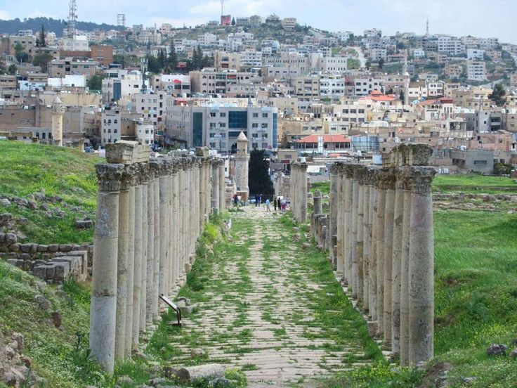 The South Decumanus was one of several east-west avenues crossing the north-south Cardo Maximus in the ancient Roman city of Jerash, Jordan.