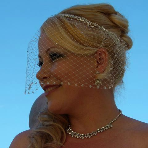 Birdcage veil with crystals and rhinestone by LeeJamesVintagePetal, $65.00