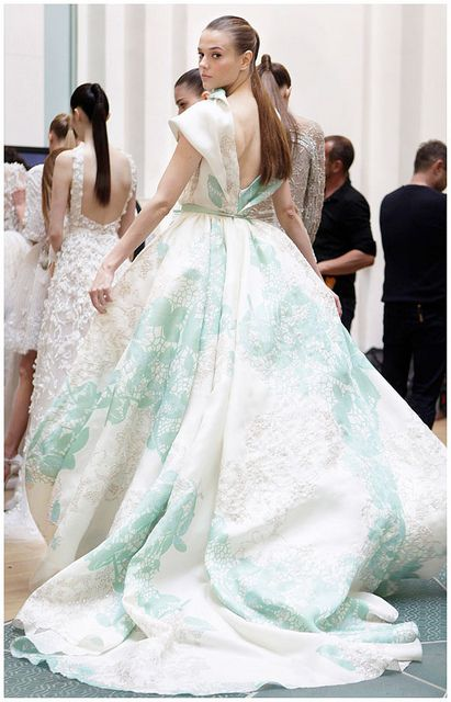 mint accents back stage at the #elie-saab fashion show