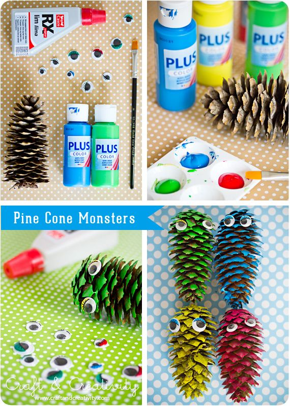 Pine cone monsters! Add pipe cleaners for arms and legs.