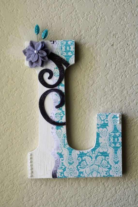 """Large Boutique Wall Letter Monogram by LolaMonkey on Etsy  Measuring in at 8 3/4"""" high and 5 1/2"""" wide, this chunky block letter comes decorated and personalized to match your color scheme. Ready to hang on the wall using the pre-cut notch, or you can stand it up on a table, shelf, bookcase, etc."""