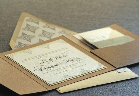Gold and Bronze Wedding Invitations - Delicate Filigree Design by Julie Hanan Design