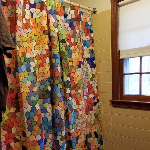 Jewel Tone Mosaic Shower Curtain Set Colorful Ruby Amethyst