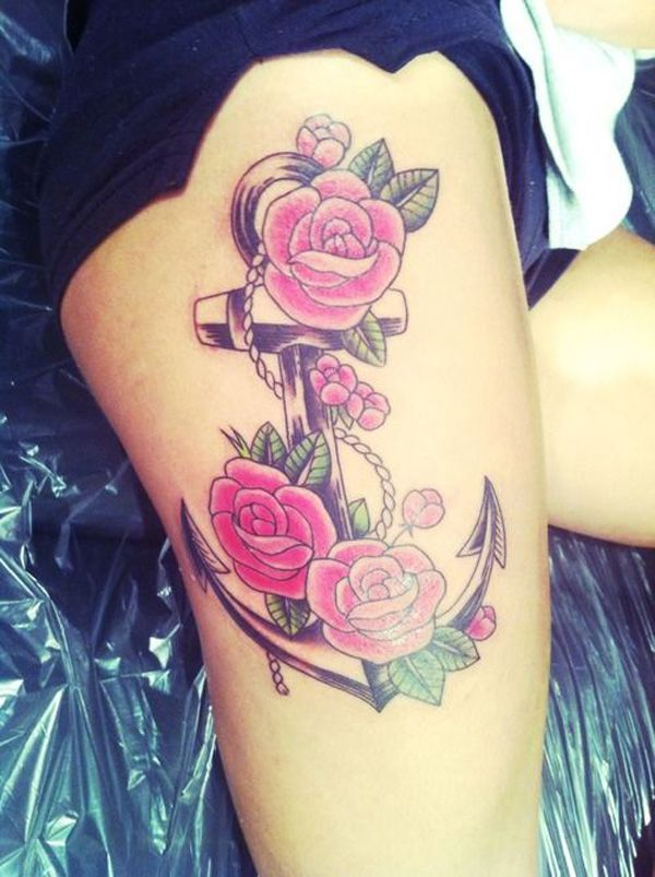 anchor flower tattoo thigh-would love something like this on my upper arm as a quarter sleeve