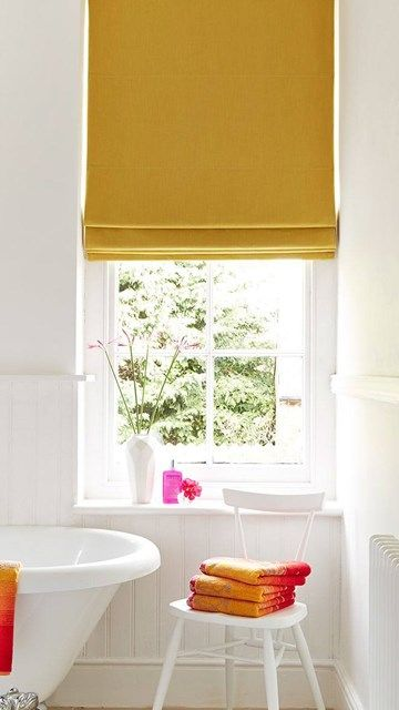What a simple way to add a splash of colour into a white bathroom (or any neutral room) with a great made to measure blind from @hillarysblinds - simple, easy and adds colour in style. | How to decorate bathrooms | Adding color | Window treatments | Colourful blinds |
