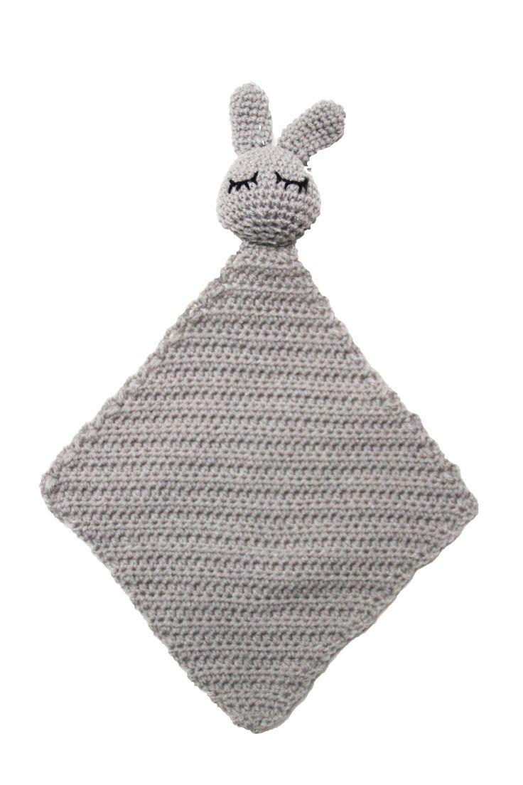 crochet towel/ doudou/ tutteldoekje -> 'rabbit' grey - Starshine collection   #towel #starshine #fabsworld #rabbit #baby #verzorging #tutteldoekje # doudou #nursery  shop:Fabsstore