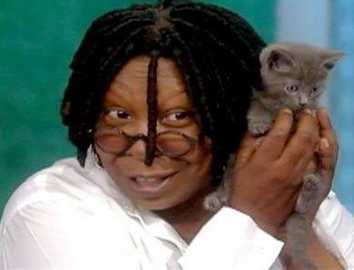 Вупи Голдберг и ее котенок Винни