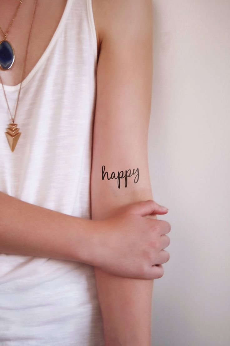 Two temporary typography tattoos with the word 'happy' by Tattoorary on Etsy https://www.etsy.com/listing/182215794/two-temporary-typography-tattoos-with