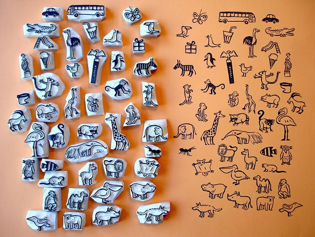 hand carved creature stamps.