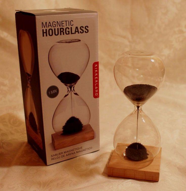 Kikkerland Magnetic Hourglass Timer One Minute Kinetic Desktop Gadget Kids Adult #Kikkerland