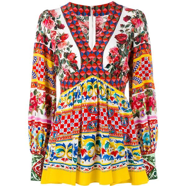 Dolce & Gabbana printed panel blouse (72.270 RUB) ❤ liked on Polyvore featuring tops, blouses, multicolor, multi color blouse, silk print blouse, long sleeve blouse, v-neck tops and long sleeve tops