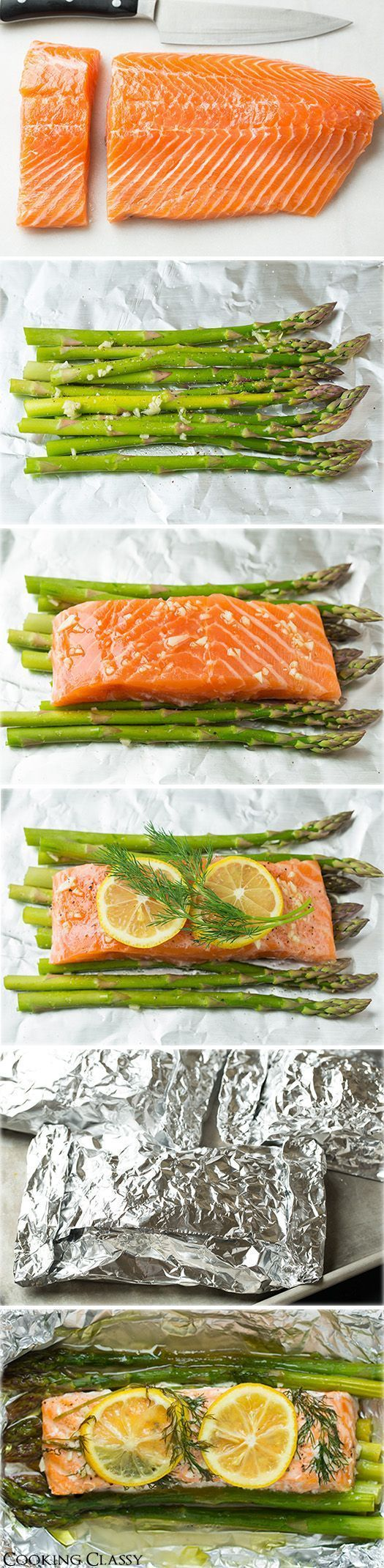 """Salmon Recipes Healthy ♥ Salmon Recipes Easy  Baked Salmon and Asparagus in Foil  """"- this is one of the easiest dinners ever, it tastes amazing, it's perfectly healthy and clean up is a breeze! """"  4 (6 oz) skinless salmon fillets - Wild caught 1 lb asparagus, tough ends trimmed 2 1/2 Tbsp olive oil 2 cloves garlic, minced Salt and freshly ground black pepper 1 lemon thinly sliced Fresh dill sprigs, or chopped fresh thyme, rosemary or pasley"""
