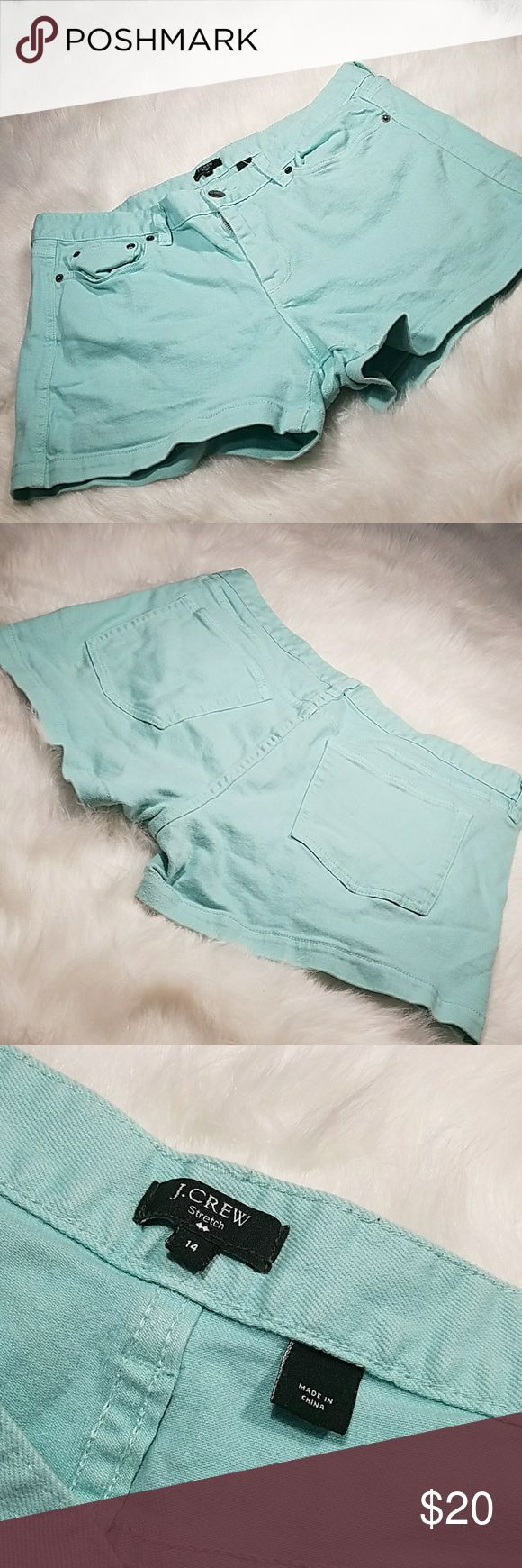 J. Crew mint green  jean shorts J. Crew mint jean shorts Inseam is 3.5 in. J. Crew Shorts Jean Shorts