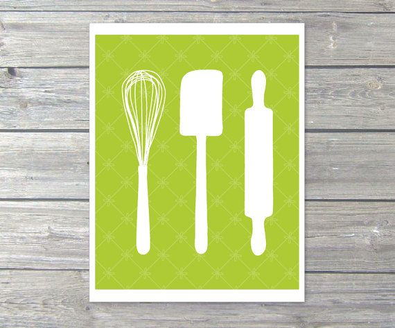 Kitchen Utensils   Digital Print   Baking Whisk Spatula Roller   Green Wall  Art Print