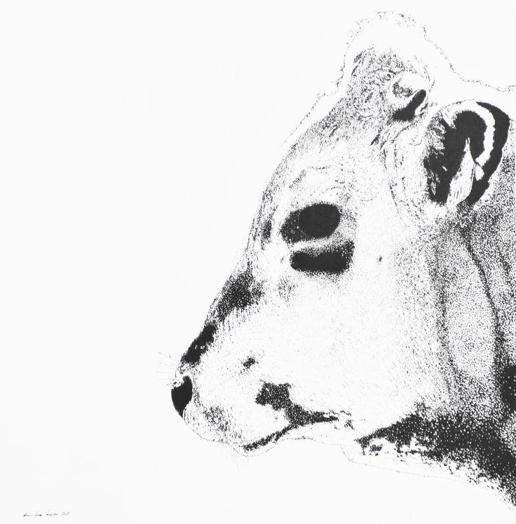 "Acryl ""pixel"" auf Leinwand 80x80                bernhard kaeser 2015 Acryl auf Leinwand , Kunst, malerei, Leinwand, painting, Cow, Kuh, Animal"