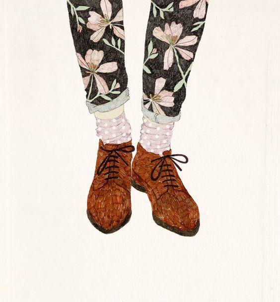 Sko Isten lába, fashion, illustration, design, pencil. Floral, brogues, shoes, texture, drawing