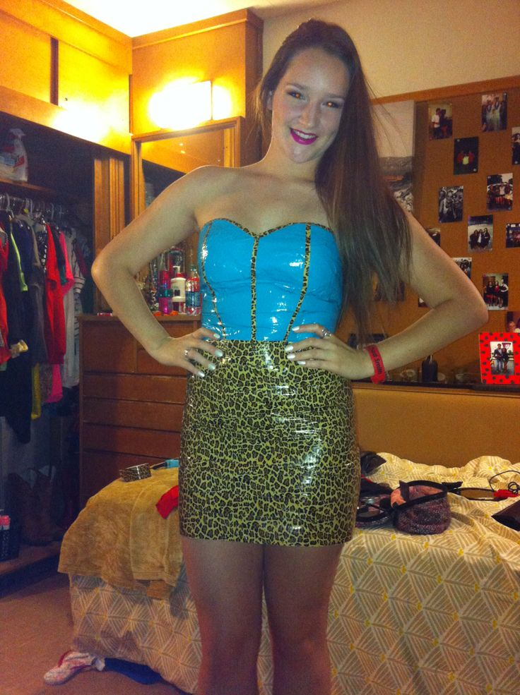 duct tape dress for an abc party only needed saran wrap