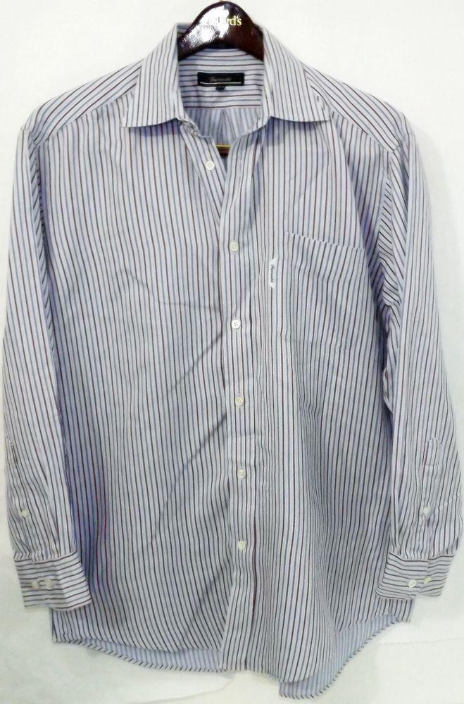 a755cfdbda8f2 LN Men s Faconnable Size 5 16.5 R Blue Red Striped Cotton LS Button Up Shirt