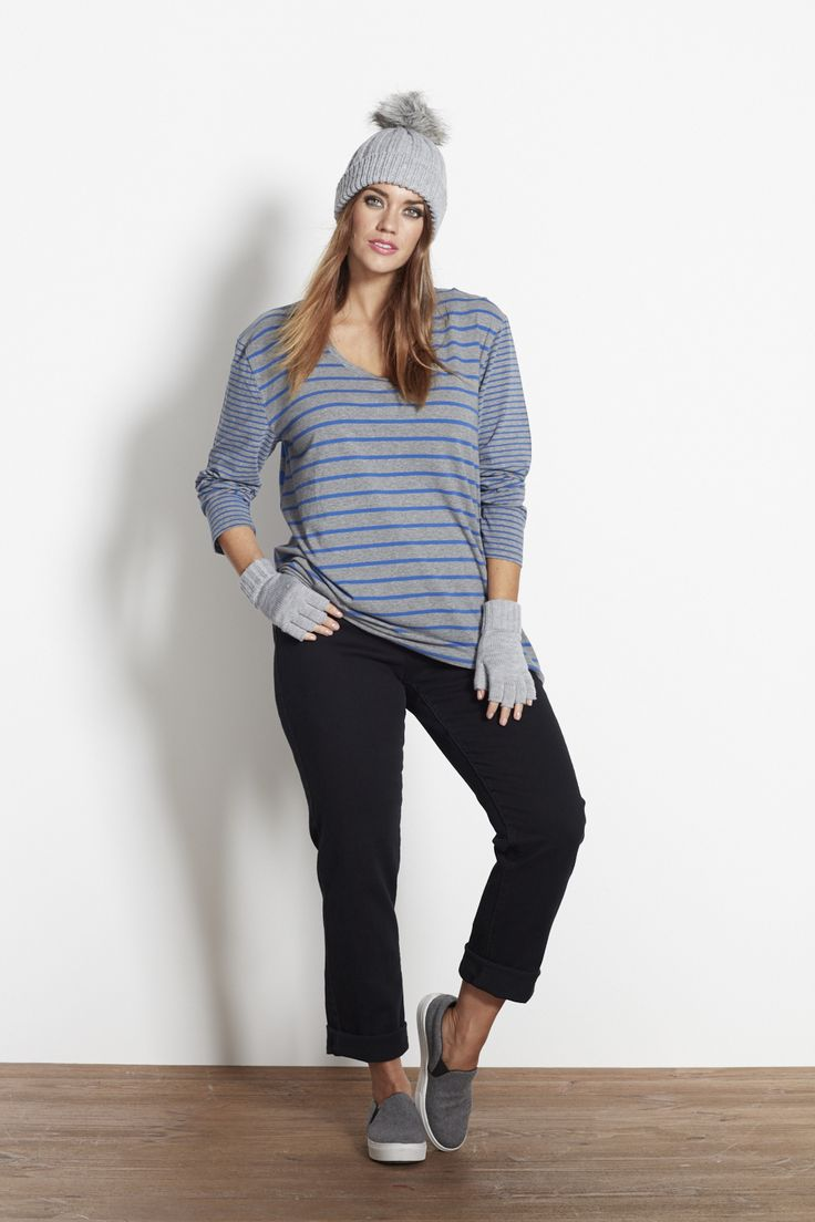 The Blues Striped Top in Grey & Blue