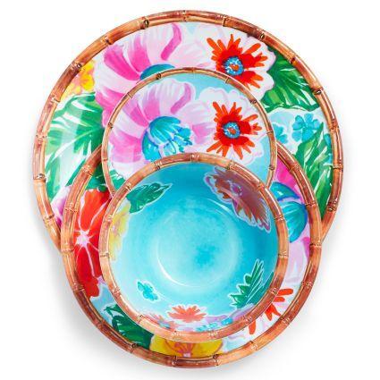 Tropical 16-Piece Melamine Dinnerware Set, Sur La Table