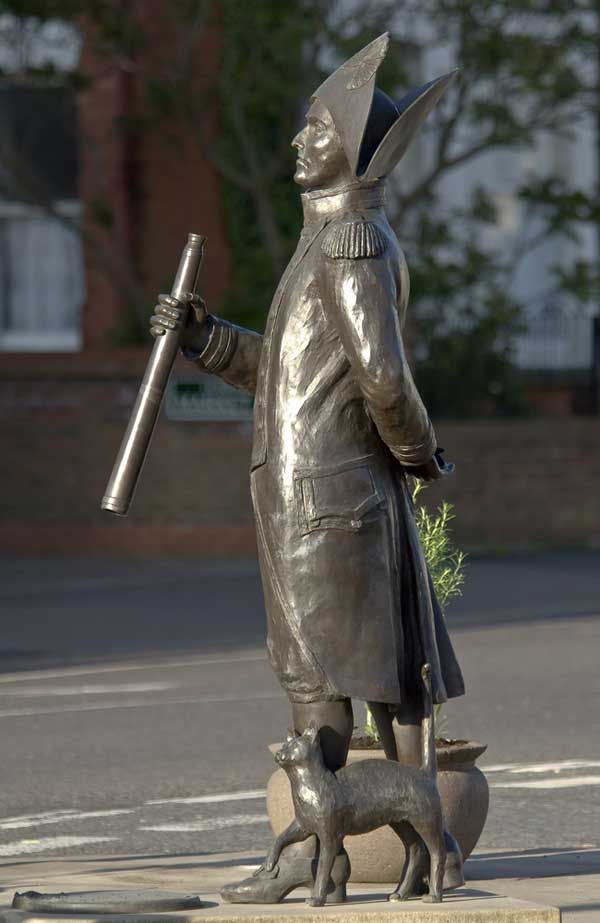 Statue of Matthew Flinders and Trim in their Lincolnshire hometown.  Much of what we know about Trim was preserved in a loving essay by his owner, Captain Matthew Flinders, written in 1803 but not published until 1973. Flinders was a British cartographer whose ship, the Reliance, was the first to circumnavigate Australia.